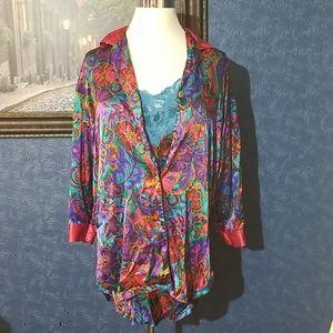 Vintage 2 Pc Victoria Secret M/L Lace Robe & Teddy